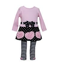 Bonnie Jean® Girls' 2T-4T Pink/Black Heart Applique Set