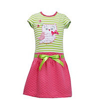 Bonnie Jean® Girls' 2T-4T Green Striped Owl Tee with Pink Quilted Skirt Set