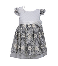 Bonnie Jean® Girls' 2T-4T Ivory Short Sleeve Dress with Lace Overlay