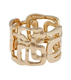 Erica Lyons® Goldtone Collins Ave.  Rectangles Stretch Bracelet