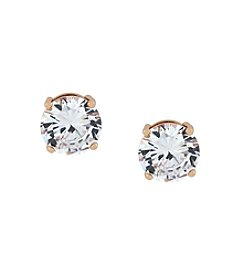 Jessica Simpson Rose Goldtone and Crystal Stud Earrings