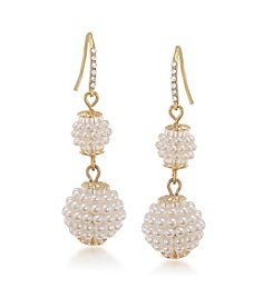 Carolee® The Sienna White Pearl Double Drop Pierced Earrings