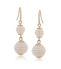 Carolee® The Sienna White Pearl Double Drop Pierced Earrings