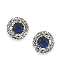 Carolee® The Elyse Royal Blue Round Button Pierced Earrings