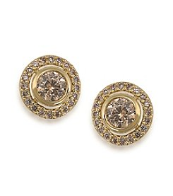 Carolee® The Brenda Topaz Round Button Pierced Earrings