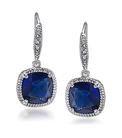 Carolee® Uptown Girl Sapphire Crystal Cushion Drop Pierced Earrings