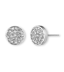 Anne Klein® Silvertone Pave Button Earrings