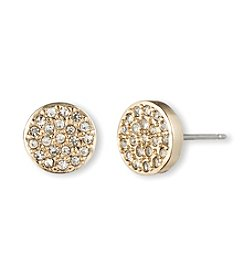 Anne Klein® Goldtone Pave Button Earrings