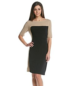 Connected® Petites' Two Tone Colorblocked Dress