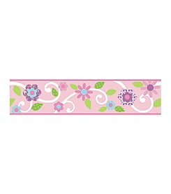 RoomMates Scroll Floral Pink and White P&S Border Decal