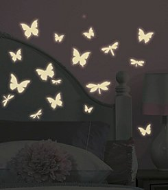 RoomMates Butterfly and Dragonfly Glow in the Dark Wall Decals