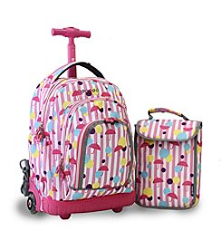 J World® Kid's Rain Lollipop Rolling Backpack with Lunch Bag