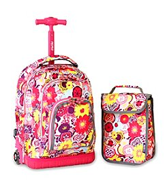 J World® Kid's Poppy Pansy Lollipop Rolling Backpack with Lunch Bag