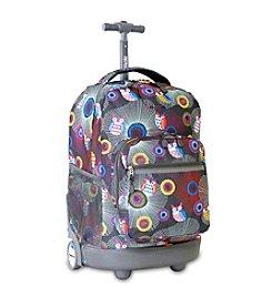 J World® Blazing Owl Sunrise Rolling Backpack