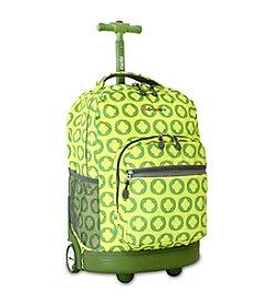 J World® Lime Logo Sunrise Rolling Backpack