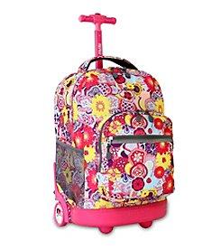 J World® Poppy Pansy Sunrise Rolling Backpack