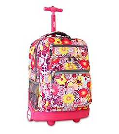 J World® Poppy Pansy Sundance Rolling Laptop Backpack