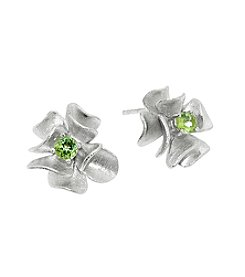 Sterling Silver Flower Peridot Stud Earrings