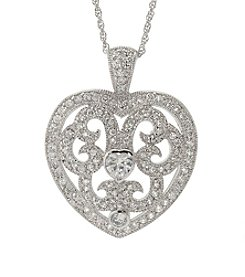 Sterling Silver Cubic Zirconia Filigree Heart Pendant Necklace