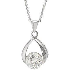 Sterling Silver Cubic Zirconia Tear Drop Pendant Necklace