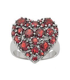 Sterling Silver Garnet Heart Shape Ring