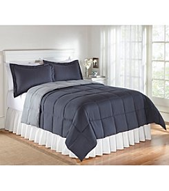 LivingQuarters Reversible Microfiber Down-Alternative Indigo & Stone Comforter or Shams