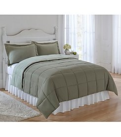 LivingQuarters Reversible Microfiber Down-Alternative Olive & Reseda Comforter or Shams