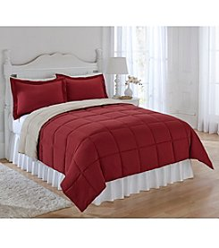 LivingQuarters Reversible Microfiber Down-Alternative Ruby & Khaki Comforter or Shams