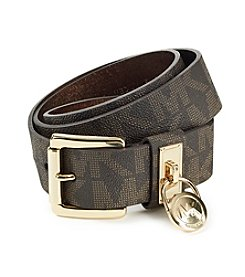Michael Kors® Chocolate Hamilton Lock Monogram Belt