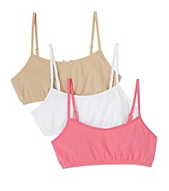 Maidenform® Girls' Pink/White/Nude 3-pk. Cotton Crop Bras