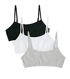 Maidenform® Girls' White/Black/Grey 3-pc. Cotton Crop Bras