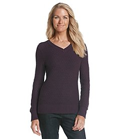 Studio Works® V-Neck Tuck Stitch Sweater
