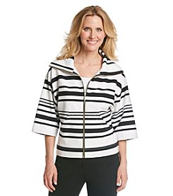 Ruby Rd.® Petites' Sunset Island Striped Knit Zip Front Jacket