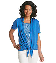 Notations® Petites' Slub Knit Lace Inset Layered Look Top