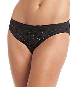 Relativity® Nylon Spandex Bikini - Black White Dot