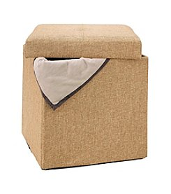 Simplify Single Linen Look Folding Ottoman