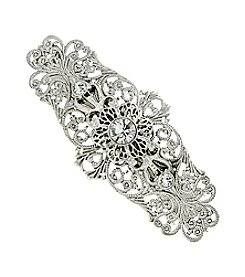 1928® Bridal Silvertone Crystal Filigree Bar Hair