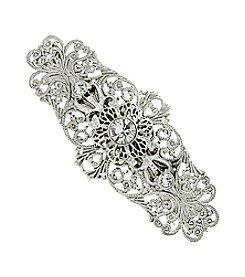 1928® Bridal Silvertone Crystal Filigree Bar Hair