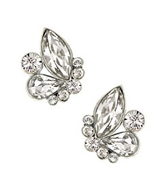 1928® Bridal Silvertone Genuine Swarovski® Crystal Button Cluster Earrings