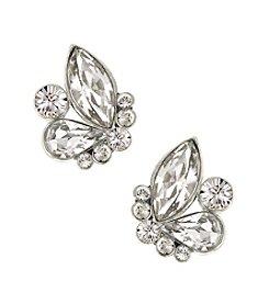 1928® Bridal Silvertone Genuine Swarovski® Crystal Button Cluster Earrings
