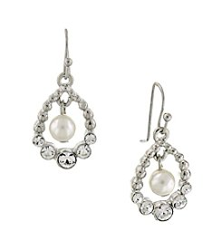 1928® Bridal Silvertone Pearl and Crystal Drop Earrings