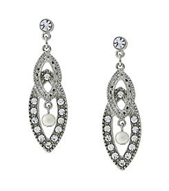 1928® Bridal Silvertone Crystal and Pearl Drop Earrings