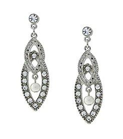 1928® Bridal Silvertone Crystal and Pearl Drop Earrings