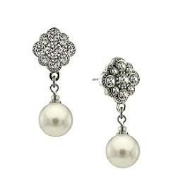 1928® Bridal Silvertone Crystal and Pearl Earrings