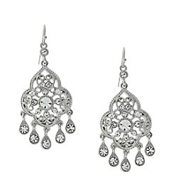 1928® Bridal Silvertone Crystal Chandelier Drop Earrings