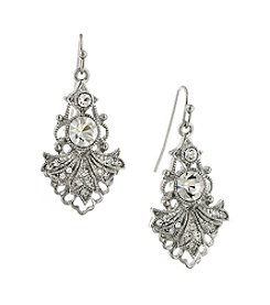 1928® Bridal Silvertone Crystal Drop Earrings