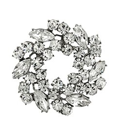 1928® Bridal Silvertone Czech Crystal Wreath Pin