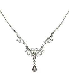 1928® Bridal Silvertone Crystal Teardrop Necklace