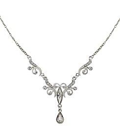 1928® Bridal Silvertone Crystal Teardrop Necklace
