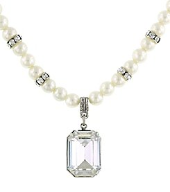 1928® Bridal Silvertone Pearl and Genuine Swarovski Crystal Square Pendant